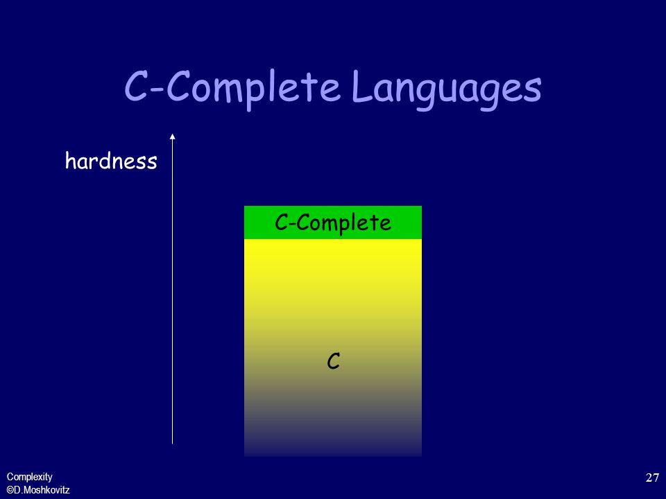 C-Complete Languages hardness C-Complete C Complexity ©D.Moshkovitz
