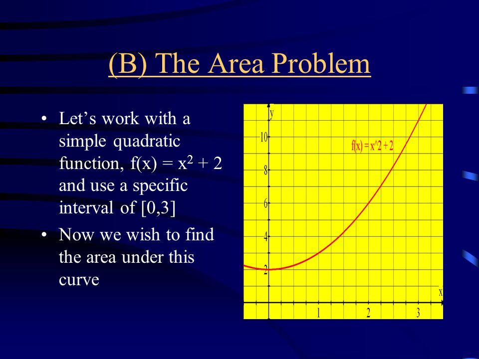 (B) The Area Problem Let's work with a simple quadratic function, f(x) = x2 + 2 and use a specific interval of [0,3]