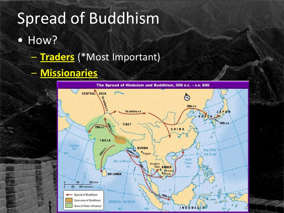 Spread of Buddhism How Traders (*Most Important) Missionaries
