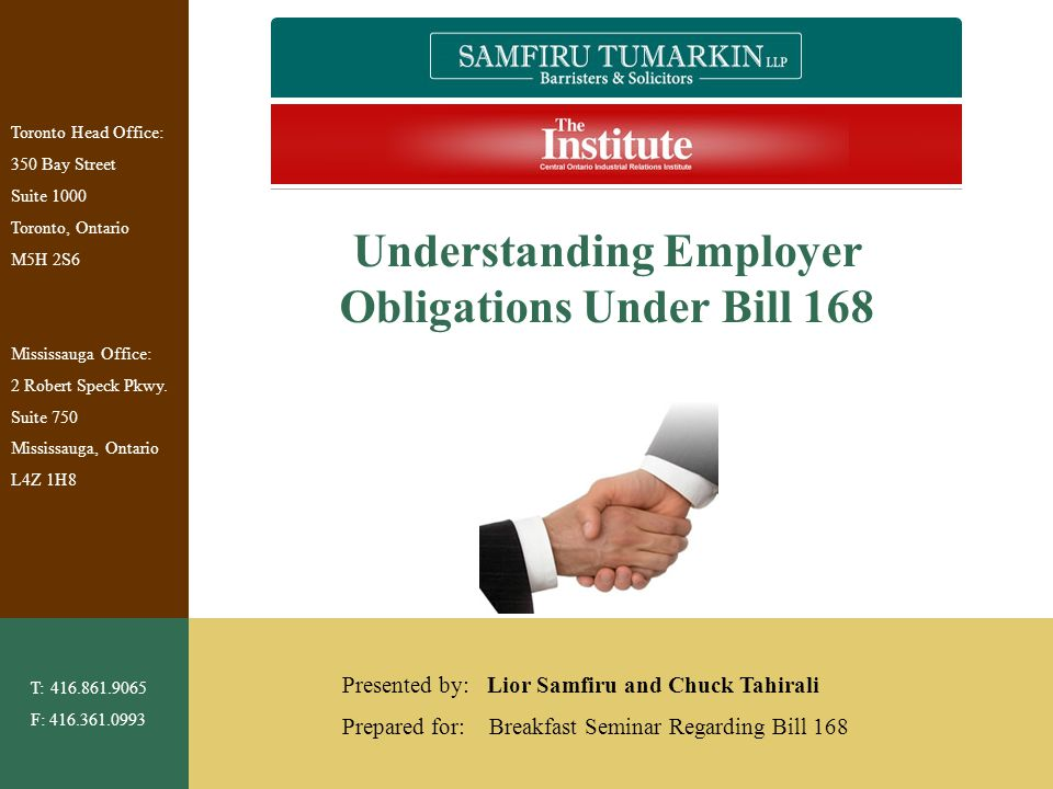 Understanding Employer Obligations Under Bill 168