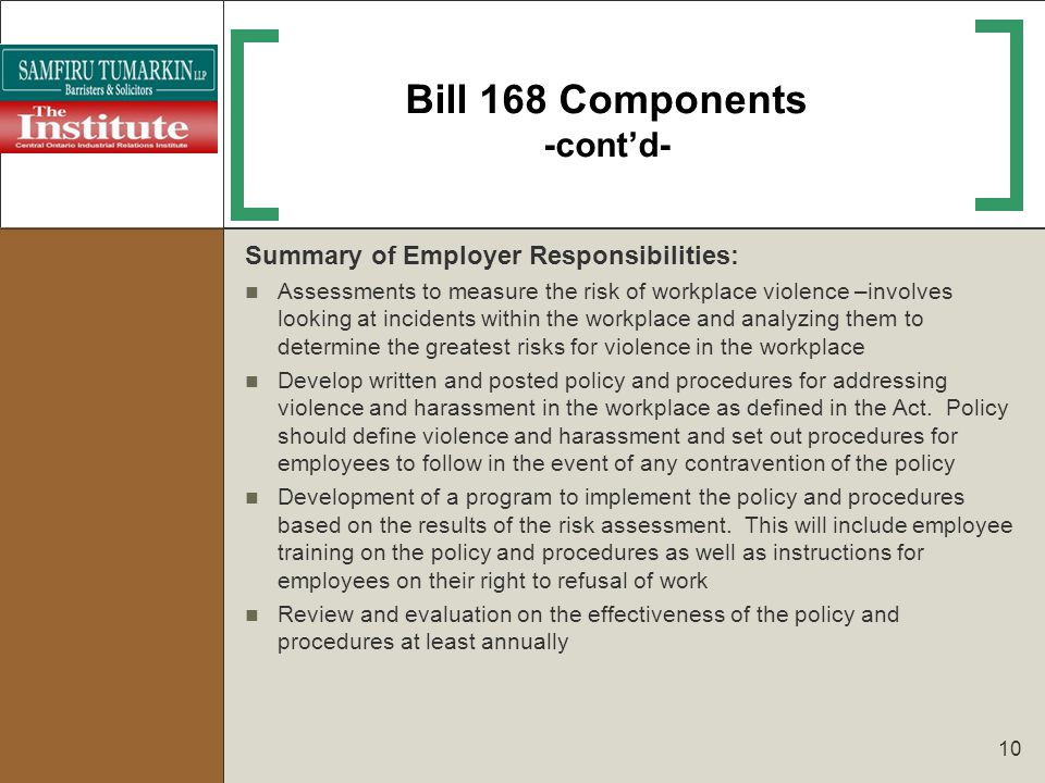 Bill 168 Components -cont'd-