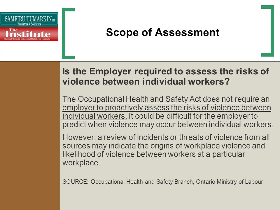 Scope of Assessment Is the Employer required to assess the risks of violence between individual workers