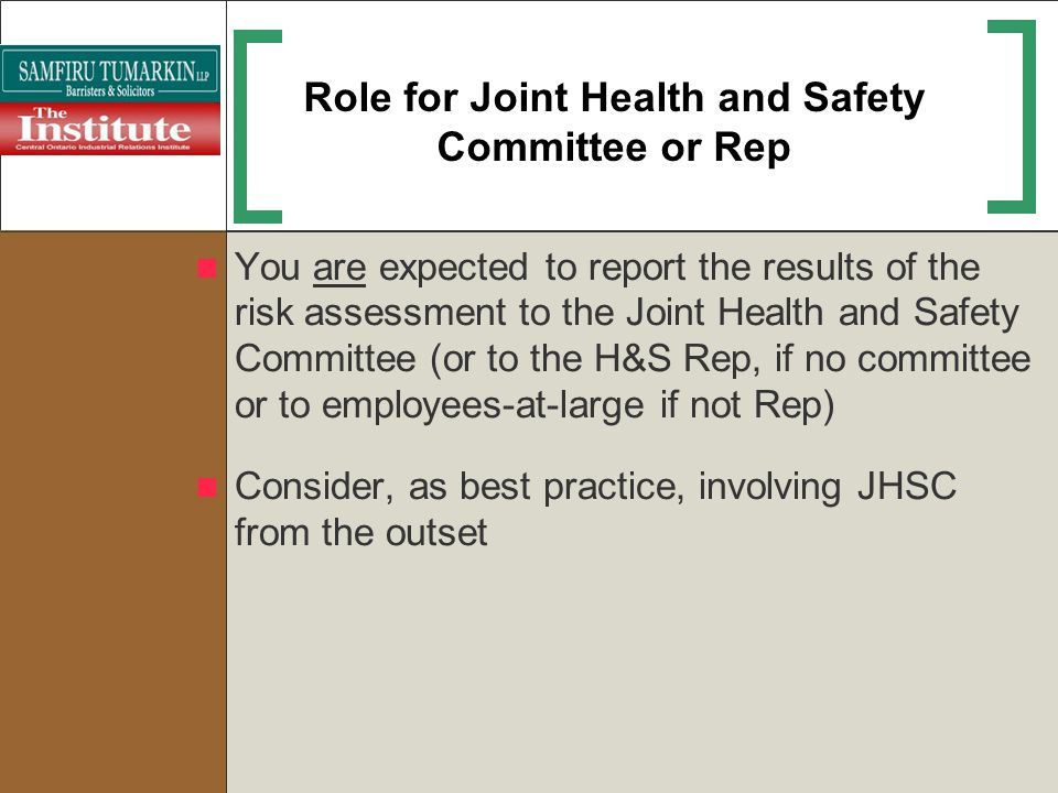 Role for Joint Health and Safety Committee or Rep