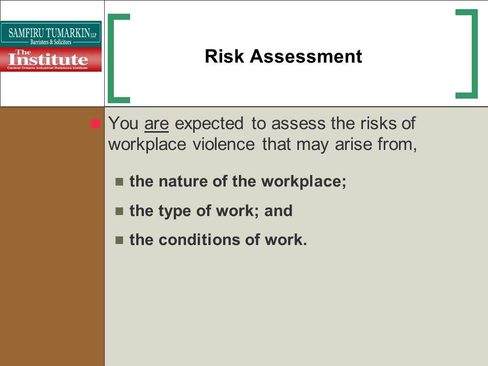 Risk Assessment You are expected to assess the risks of workplace violence that may arise from, the nature of the workplace;