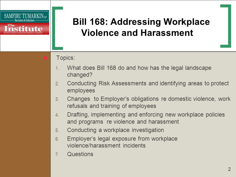 Bill 168: Addressing Workplace Violence and Harassment