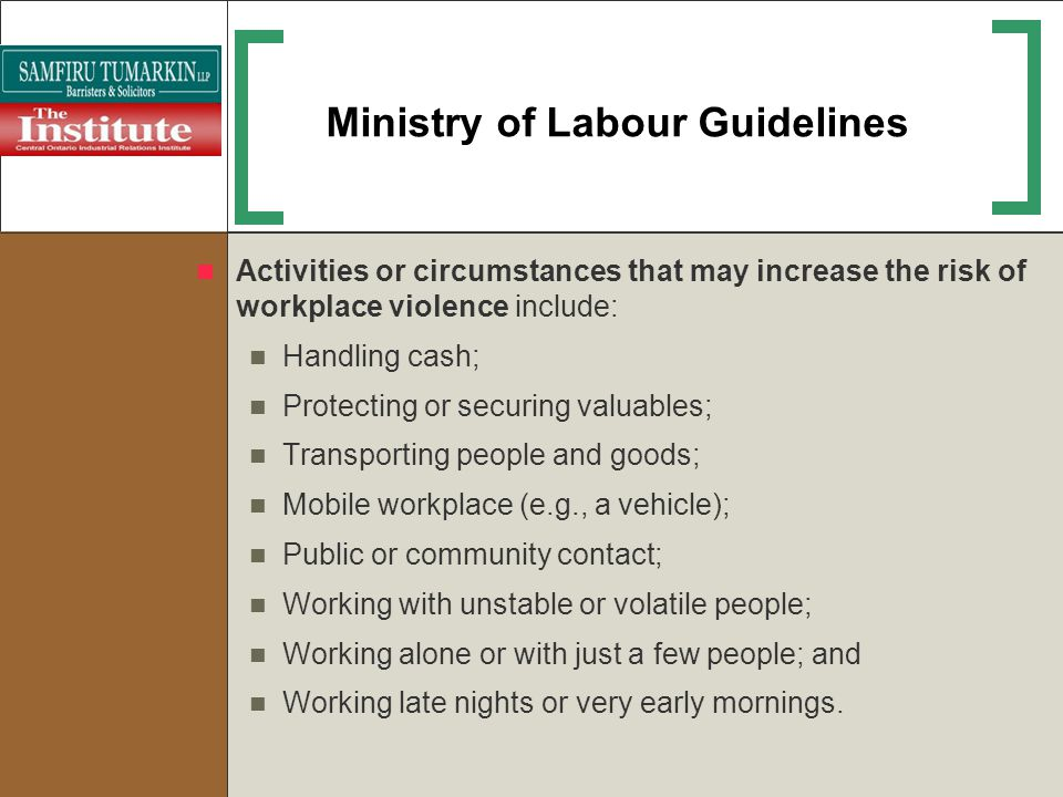 Ministry of Labour Guidelines