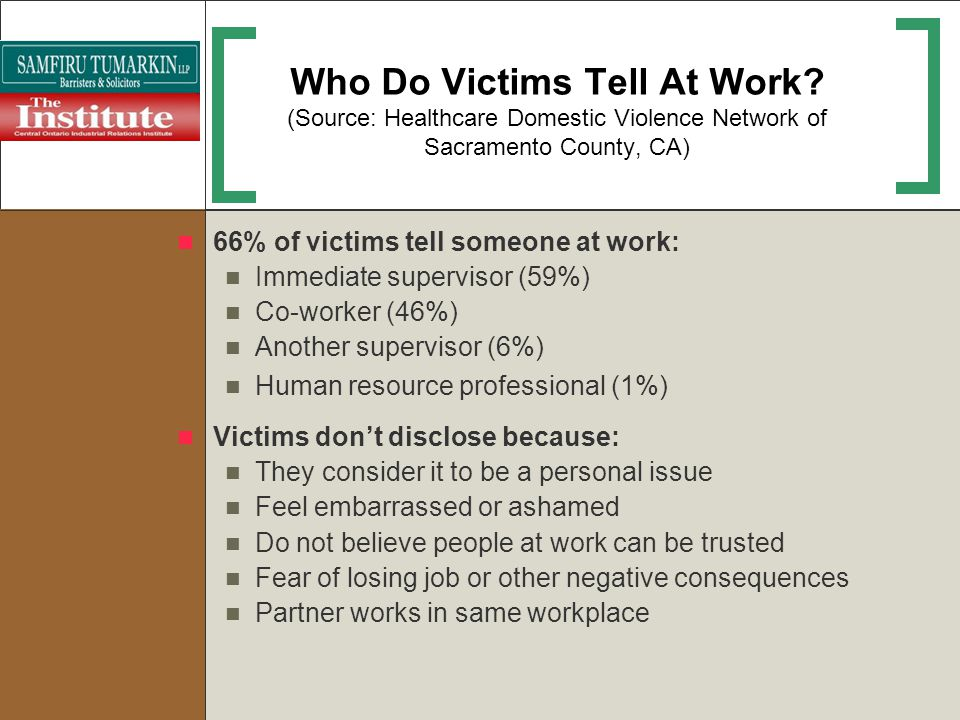 Who Do Victims Tell At Work