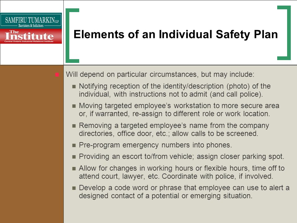 Elements of an Individual Safety Plan