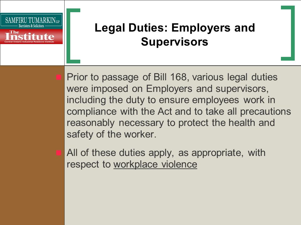 Legal Duties: Employers and Supervisors