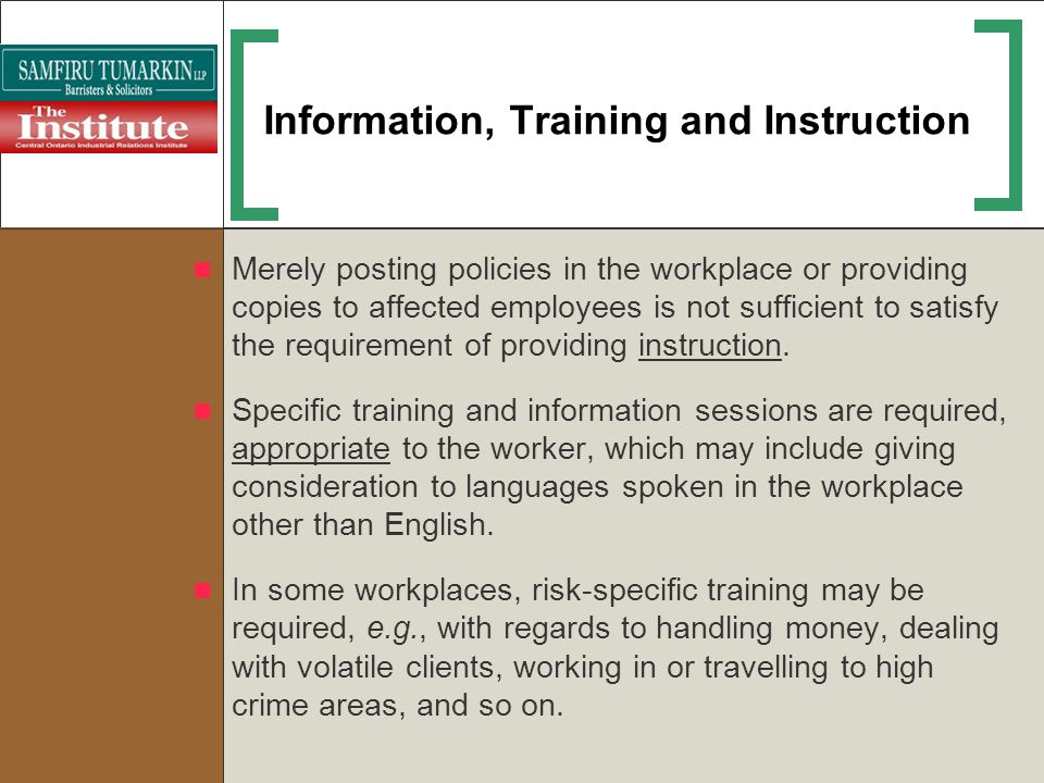 Information, Training and Instruction