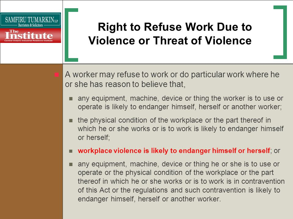 Right to Refuse Work Due to Violence or Threat of Violence