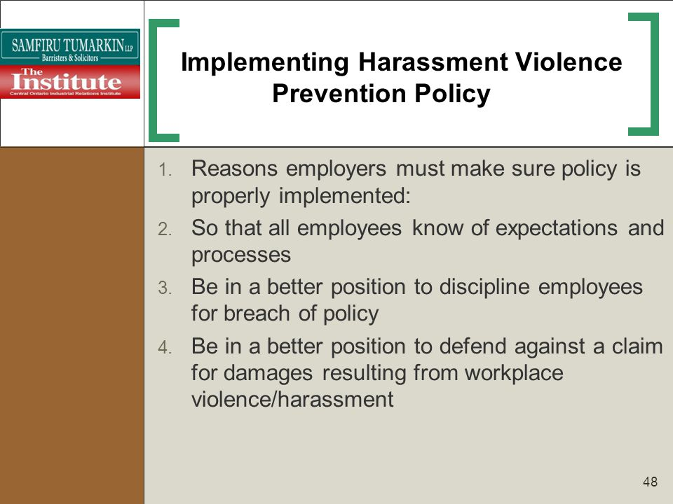 Implementing Harassment Violence Prevention Policy