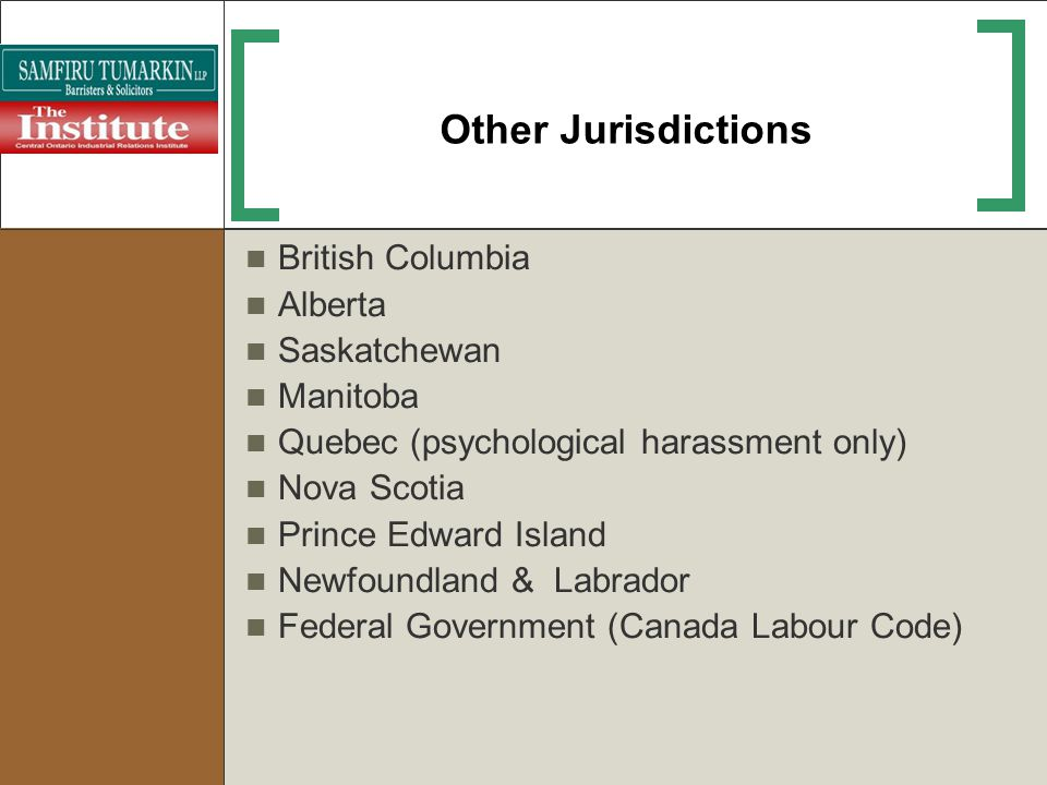 Other Jurisdictions British Columbia Alberta Saskatchewan Manitoba