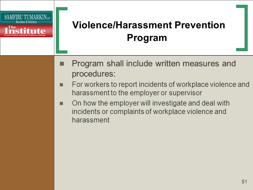 Violence/Harassment Prevention Program