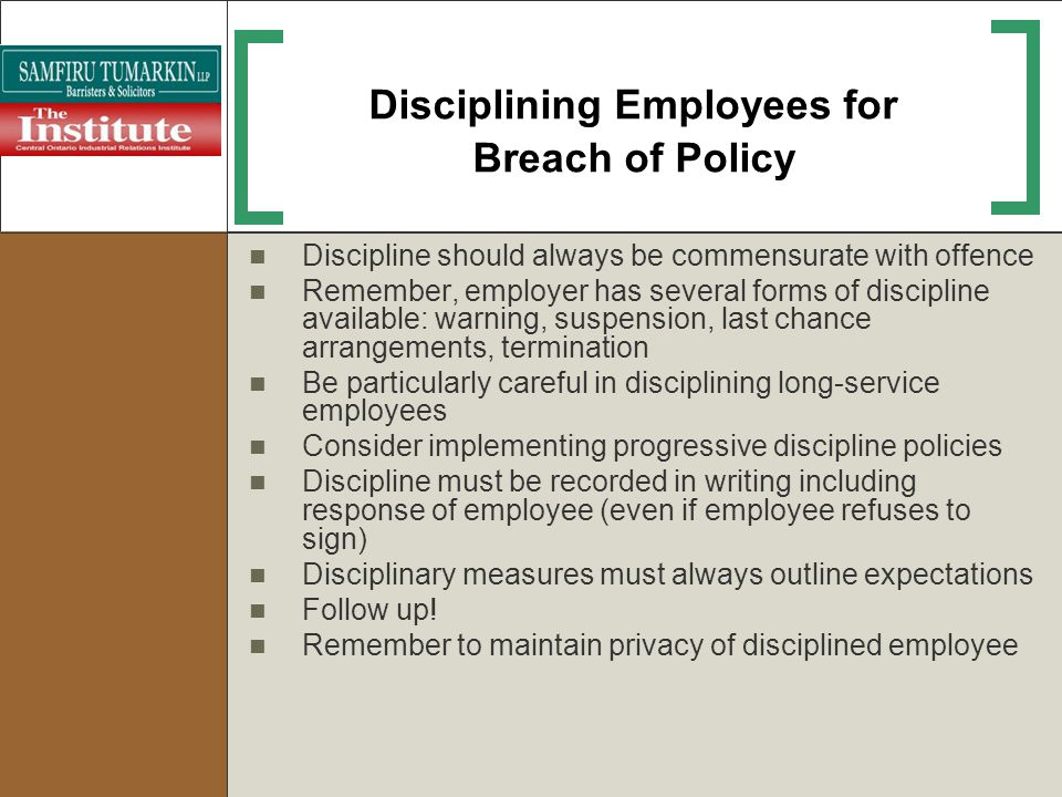 Disciplining Employees for Breach of Policy