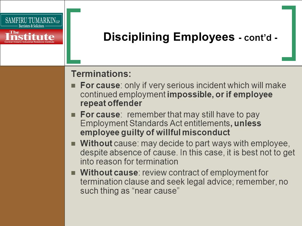 Disciplining Employees - cont'd -