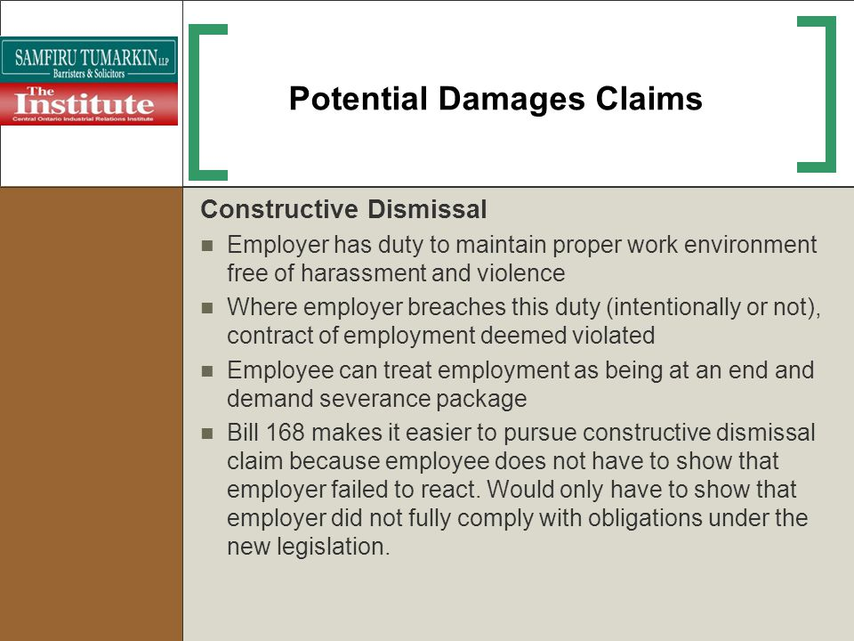 Potential Damages Claims
