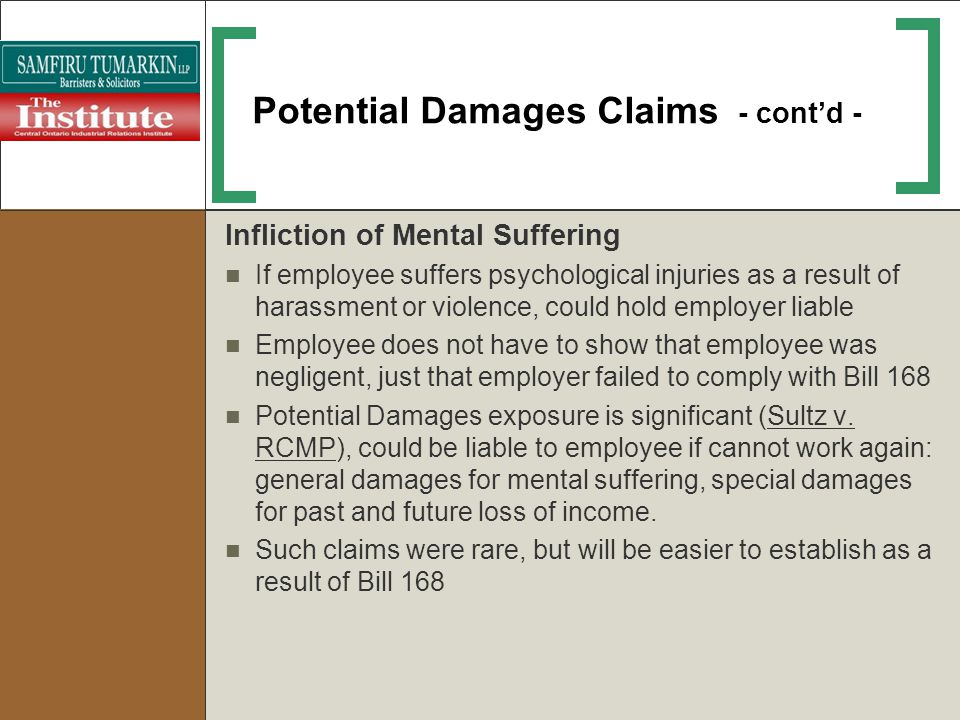 Potential Damages Claims - cont'd -