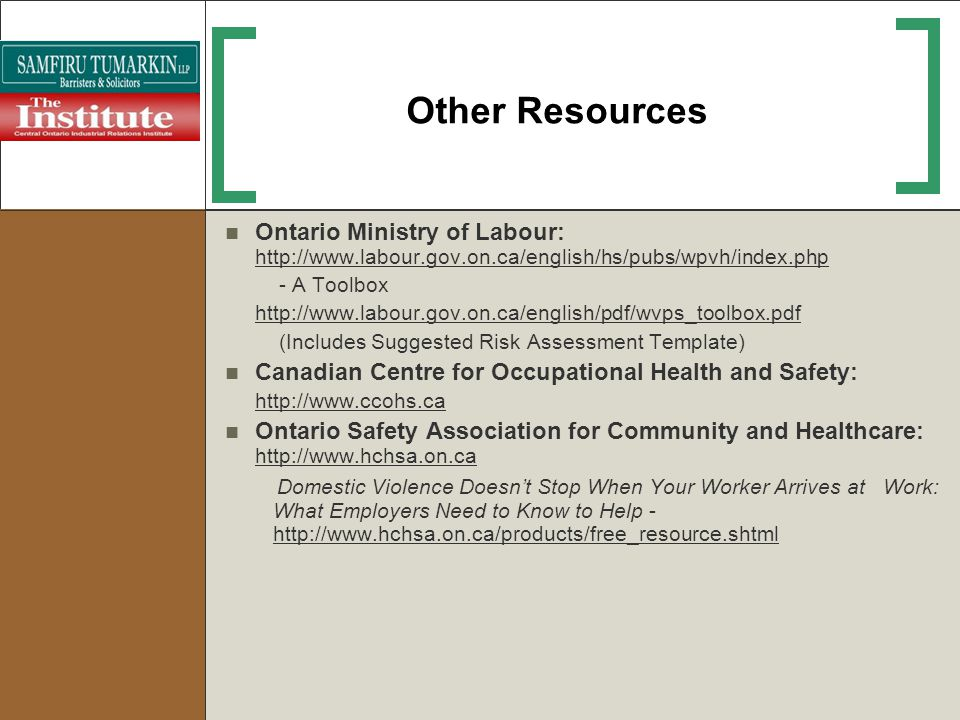 Other Resources Ontario Ministry of Labour: http://www.labour.gov.on.ca/english/hs/pubs/wpvh/index.php.
