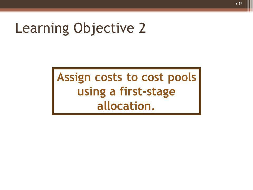 Assign costs to cost pools using a first-stage allocation.