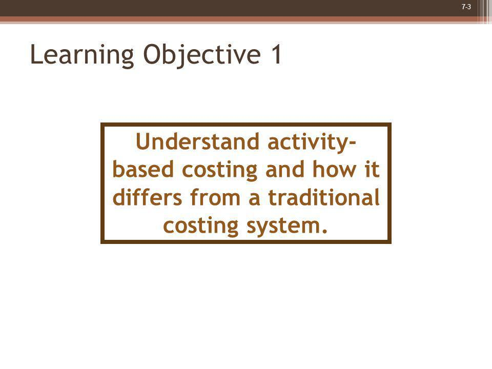 Learning Objective 1 Understand activity-based costing and how it differs from a traditional costing system.