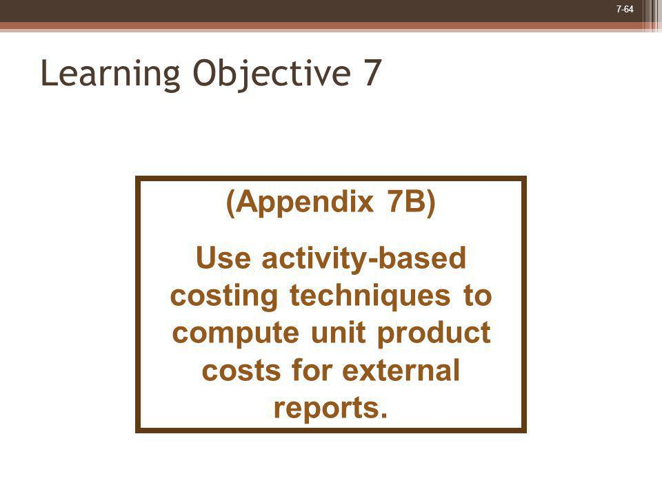 Learning Objective 7 (Appendix 7B)