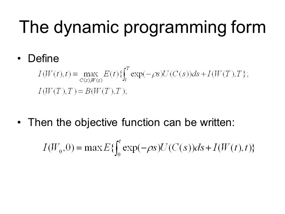 The dynamic programming form