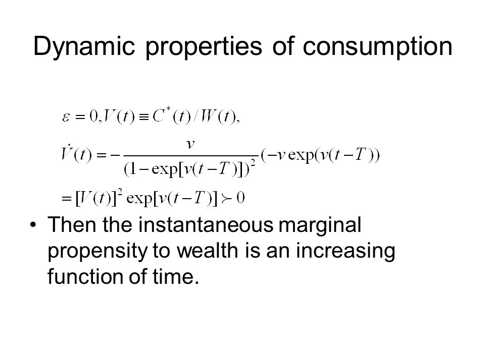 Dynamic properties of consumption