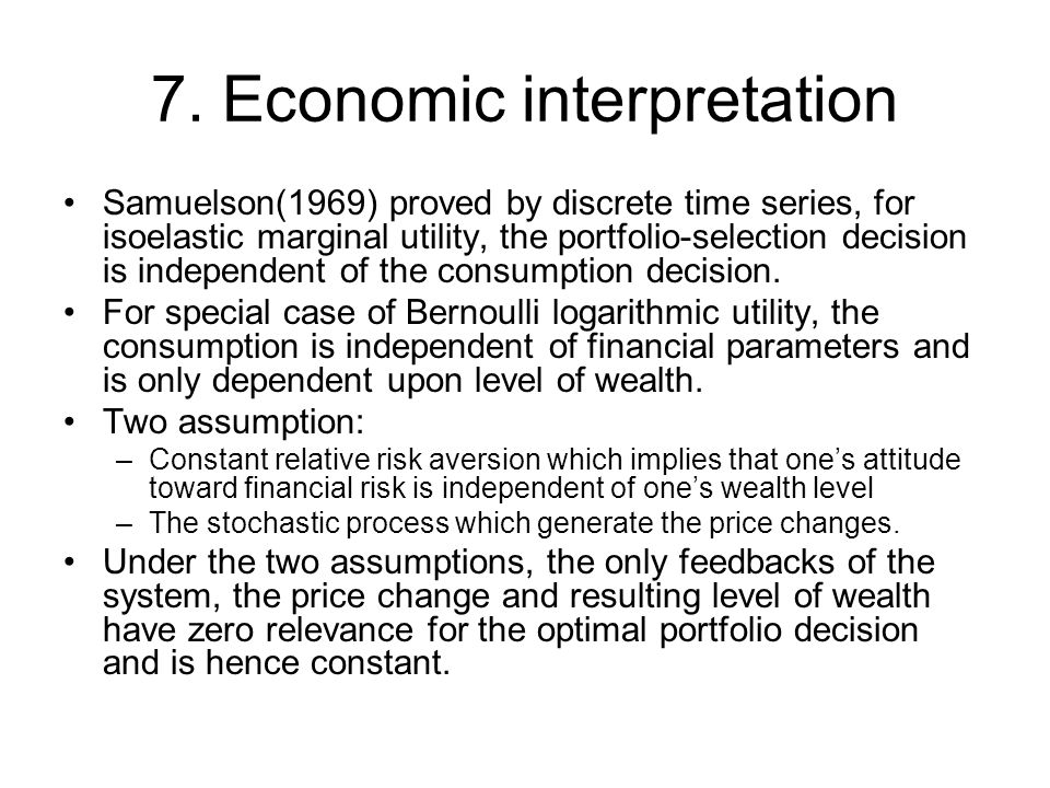 7. Economic interpretation