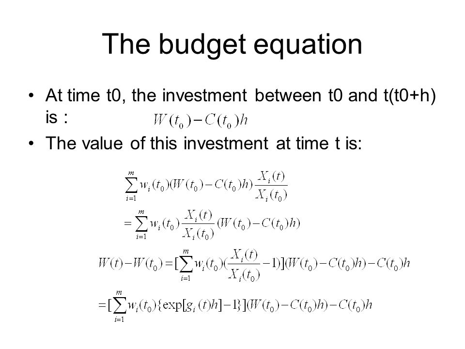 The budget equation At time t0, the investment between t0 and t(t0+h) is : The value of this investment at time t is: