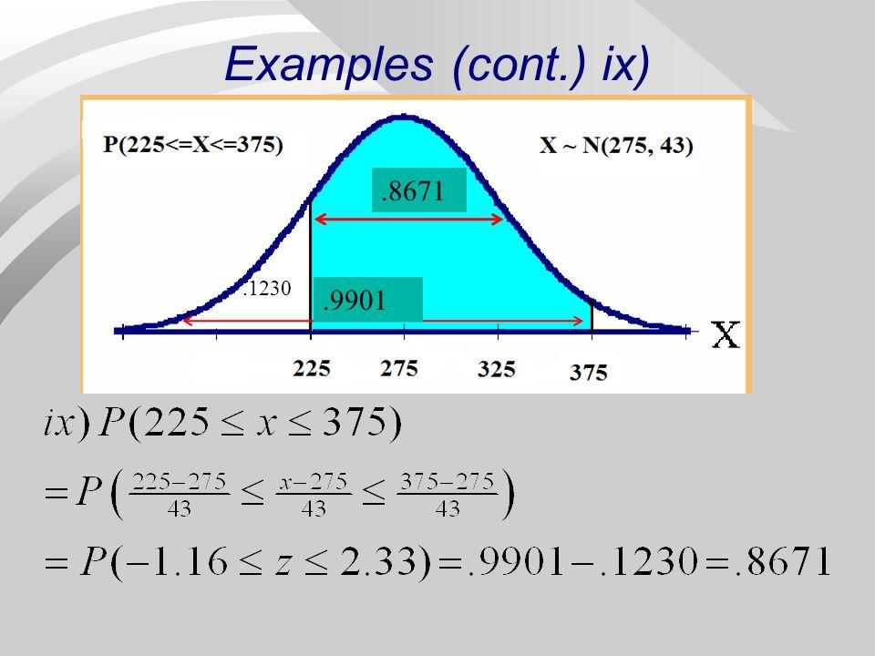 Examples (cont.) ix) .8671 .1230 .9901