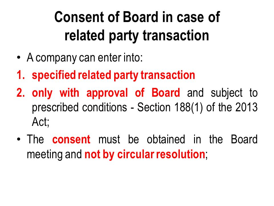 Consent of Board in case of related party transaction