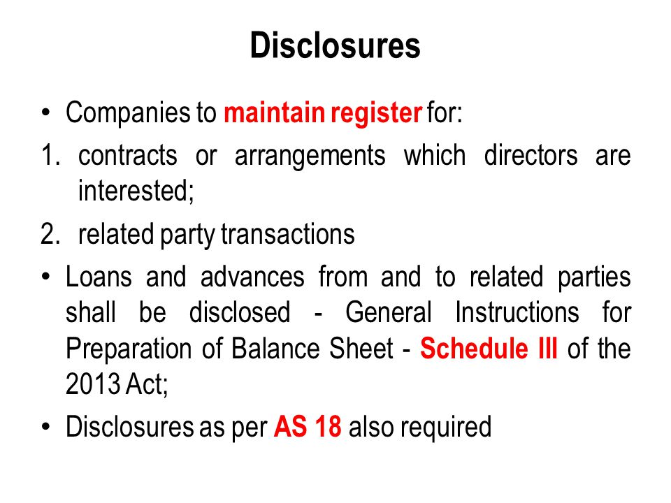 Disclosures Companies to maintain register for: