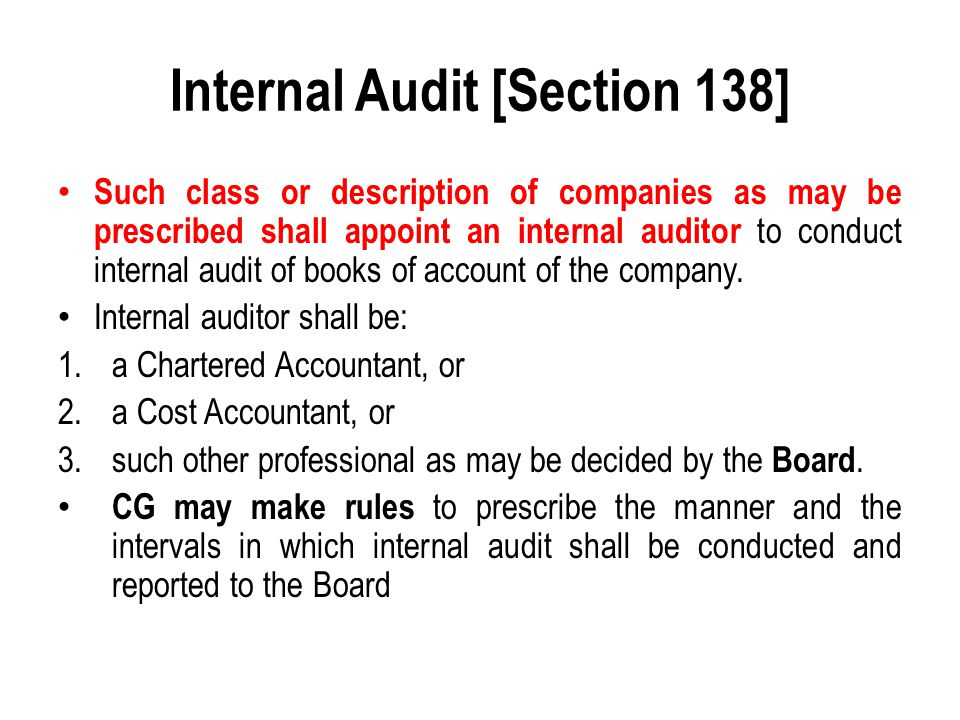 Internal Audit [Section 138]