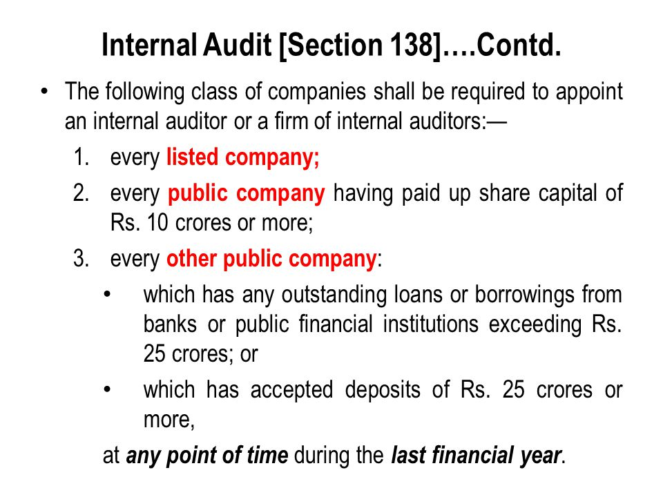 Internal Audit [Section 138]….Contd.