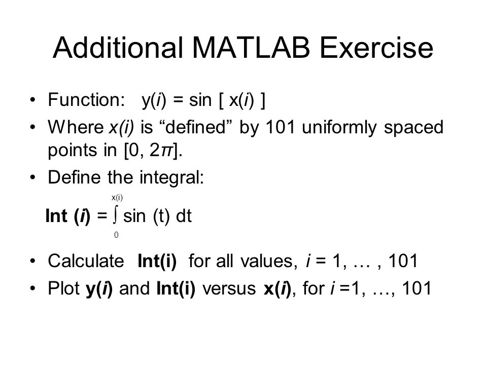 Additional MATLAB Exercise