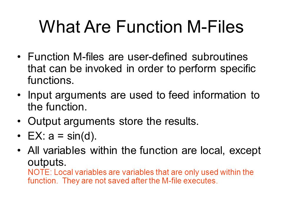 What Are Function M-Files