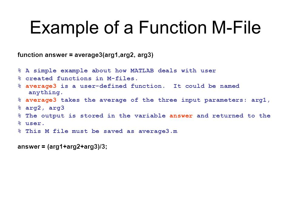 Example of a Function M-File