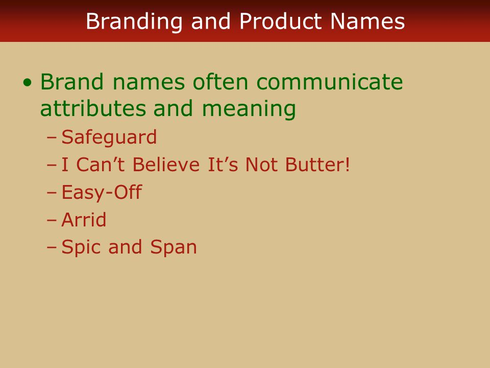 Branding and Product Names