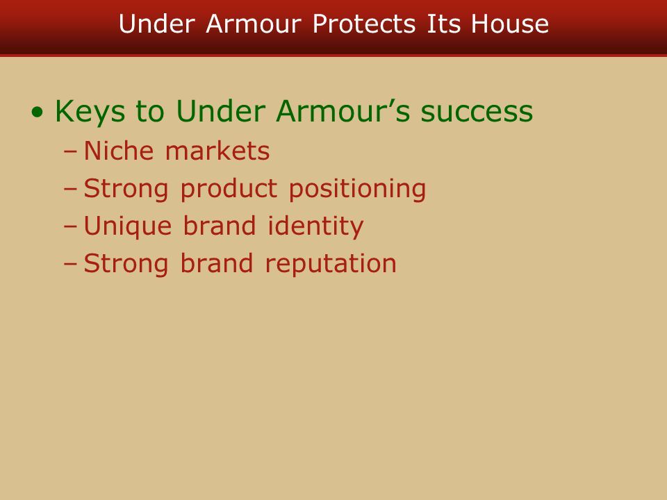 under armour positioning