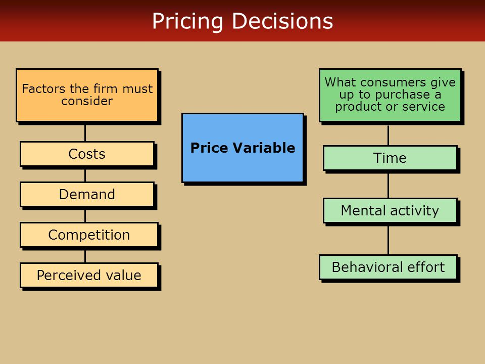 Pricing Decisions Price Variable Costs Time Demand Mental activity