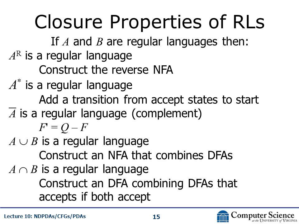 Closure Properties of RLs