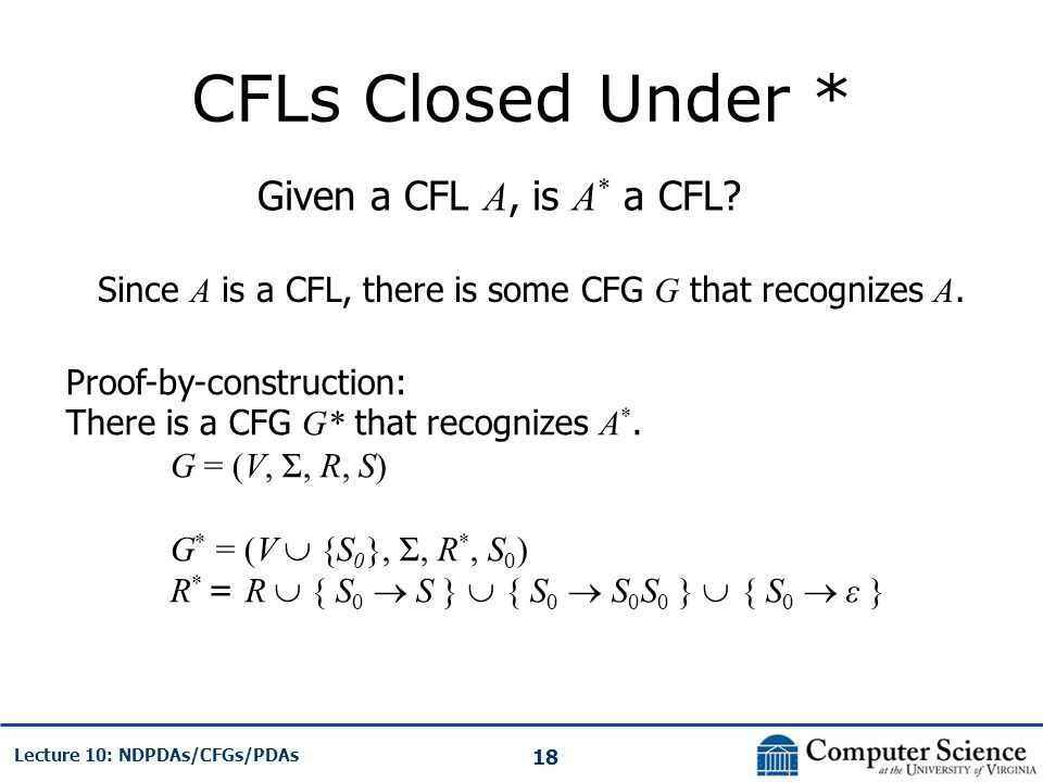 CFLs Closed Under * Given a CFL A, is A* a CFL