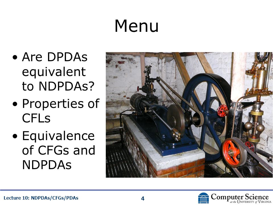 Menu Are DPDAs equivalent to NDPDAs Properties of CFLs