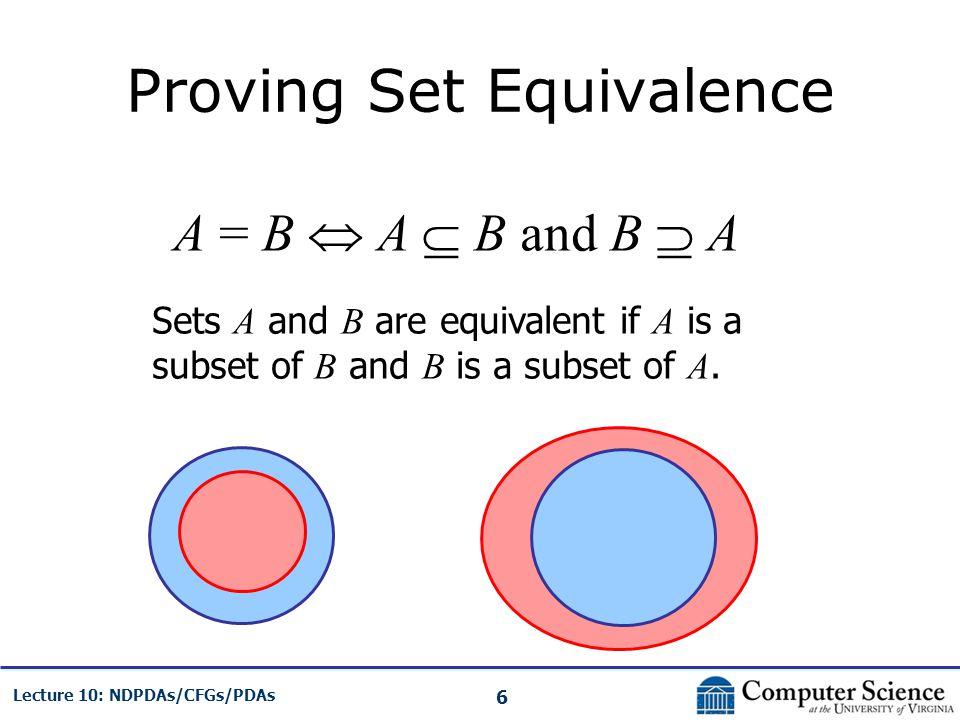 Proving Set Equivalence