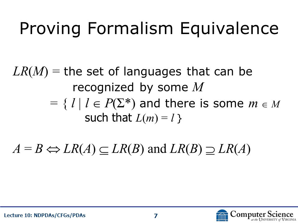 Proving Formalism Equivalence