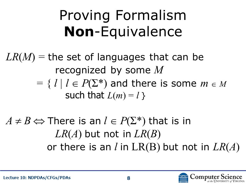 Proving Formalism Non-Equivalence