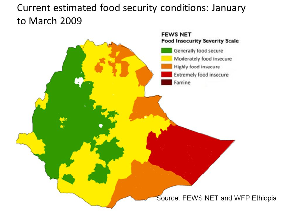 Current estimated food security conditions: January to March 2009