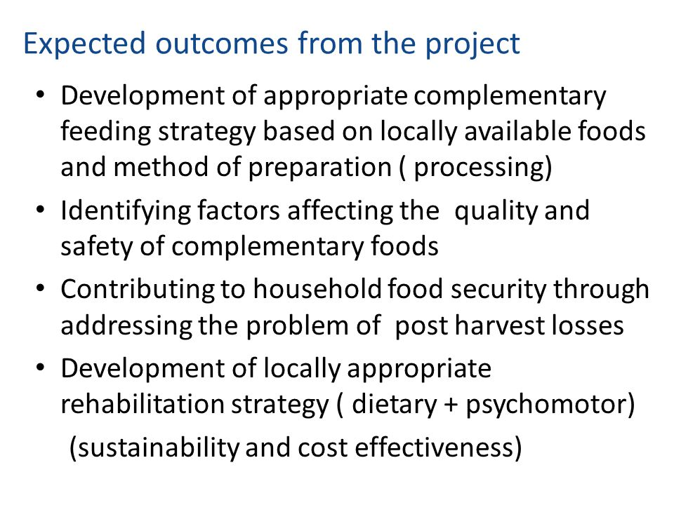 Expected outcomes from the project