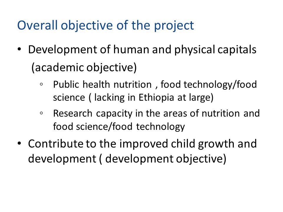 Overall objective of the project